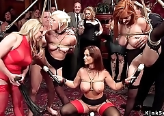 Tied up slaves suffers lezdom at orgy
