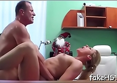Hard and thick cock permeates wet cunt of a hot doctor