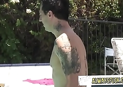 It is a hot day come to fuck into the pool