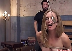 Hardfucked slut squirts during threesome