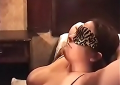 Blindfolded white bitch face fucked by black dick