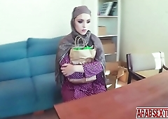 Arab chick gives her boss a blowjob with a little something extra