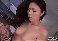Marvelous asian charms with wild blowbang to receive unfathomable anal