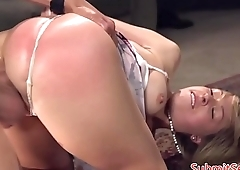 Dominated slut gets anally fucked by dom