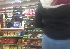 Candid slow mo video Mexican booty at gas station Pt 1