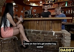 Daddy smooth talks sons hot girlfriend into having sex