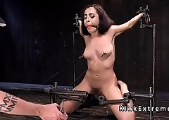 Hairy slave gets nipples torment in bondage