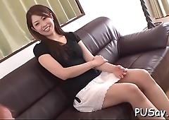 Oriental couple gets dirty stripping and fingering taut pussy