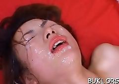 Superb oriental wife gets instant loads of ball cream in bukkake xxx
