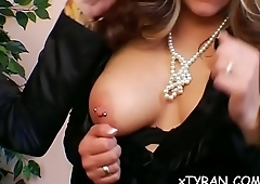 Stunningly sexy babe gets her mouth and pussy fucked hard