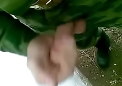 Russian soldier play with cock-2