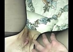 Milf wife in black nylons jerked me off
