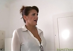Shemale maid gets her asshole slammed