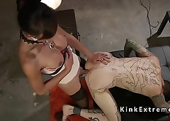 Tattooed guy gets trannys cock in the ass