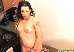 Amateur tranny stripping and playing around