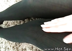 Goddess is showing her feet in pantyhose