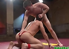Wrestle hunk gagged and anally screwed