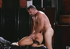 Horny blonde in stockings has her pussy nailed hard