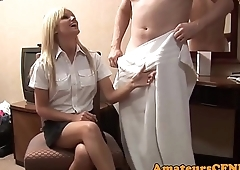 Teasing babe loves CFNM humiliation