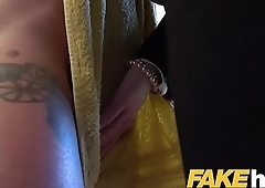 Female Agent Hot busty redhead seduced in shower and fucked on couch