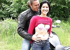 Sex Adventure with a Biker and a Slender Slut