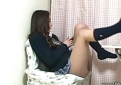 Upskirt the Japanese Schoolgirl Miniskirt from Under the Desk