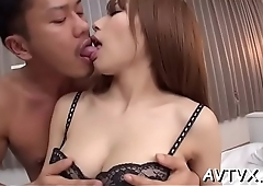 Glamorous japanese chick receives coarse doggystyle drilling