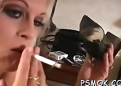 Couple takes turn oraly pleasing each other whilst smoking