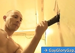 Adrian Troy gay gloryhole dick sucking with Justin Blayde