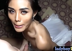 Amateur Thai ladyboy with a pretty face dicked bareback