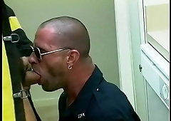 Wild handsome cop gives blowy with passion in the office